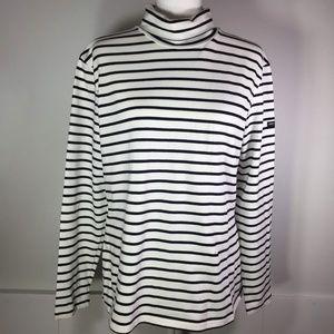 St James for J. Crew Black & Cream Stripe Shirt XL
